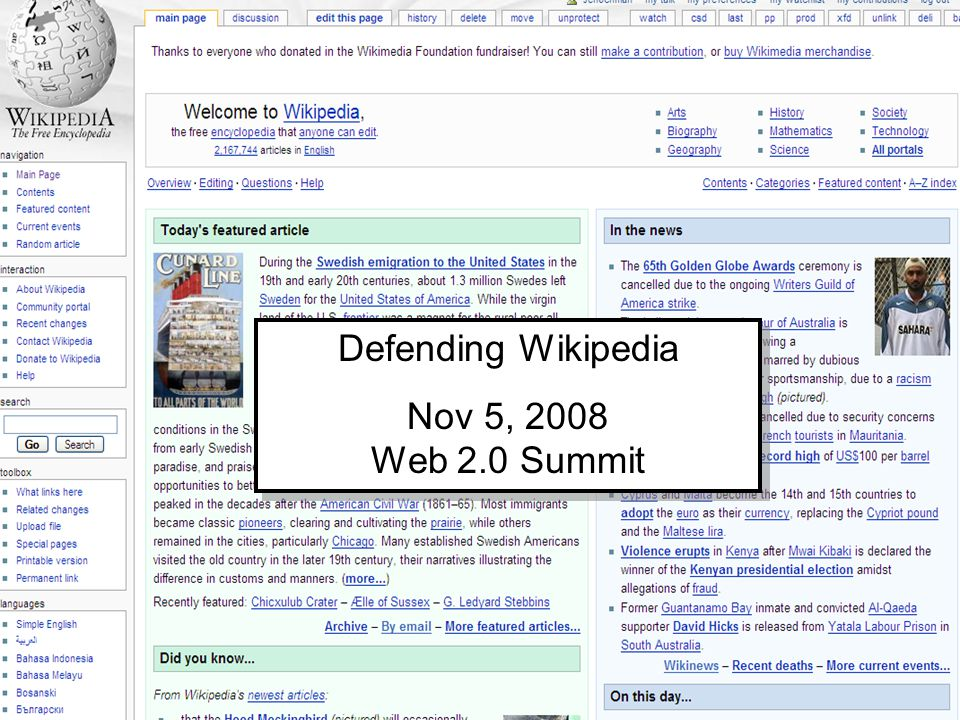 Defending Wikipedia Nov 5, 2008 Web 2.0 Summit Defending Wikipedia Nov 5, 2008 Web 2.0 Summit