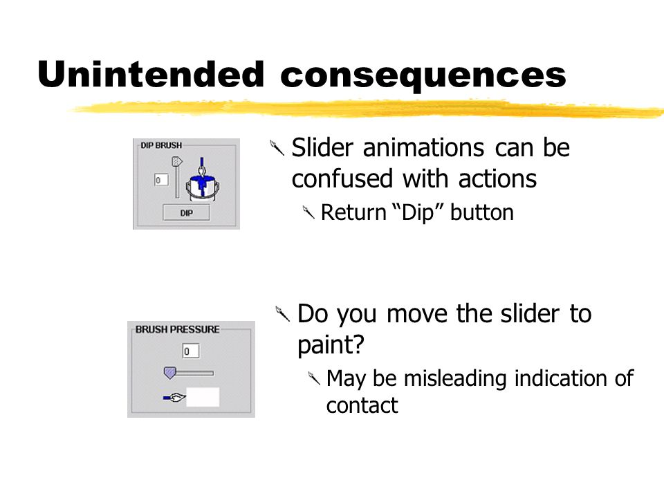 Unintended consequences Slider animations can be confused with actions Return Dip button Do you move the slider to paint.