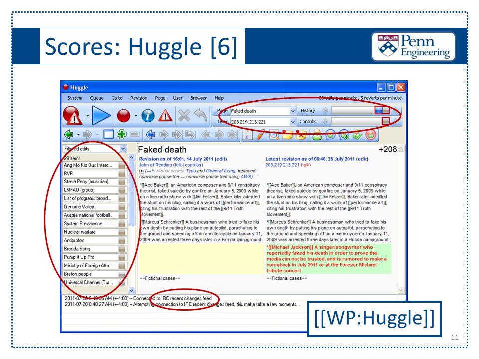 Scores: Huggle [6] 11 [[WP:Huggle]]