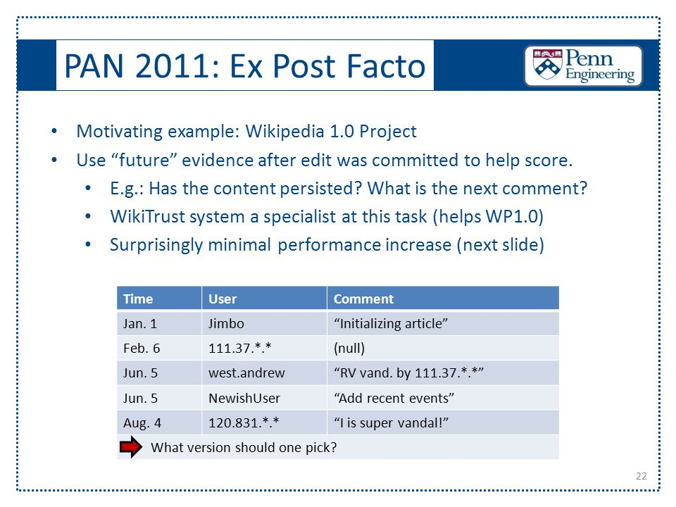 "PAN 2011: Ex Post Facto 22 Motivating example: Wikipedia 1.0 Project Use ""future"" evidence after edit was committed to help score. E.g.: Has the conte"