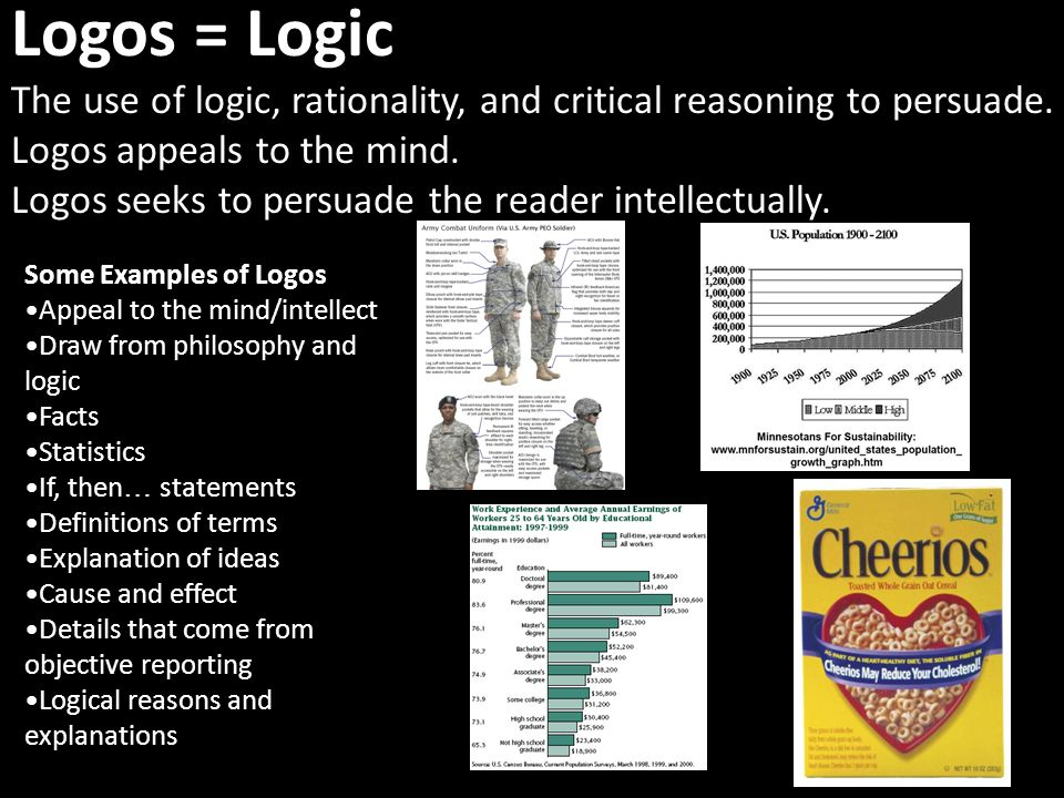 Logos = Logic The use of logic, rationality, and critical reasoning to persuade.