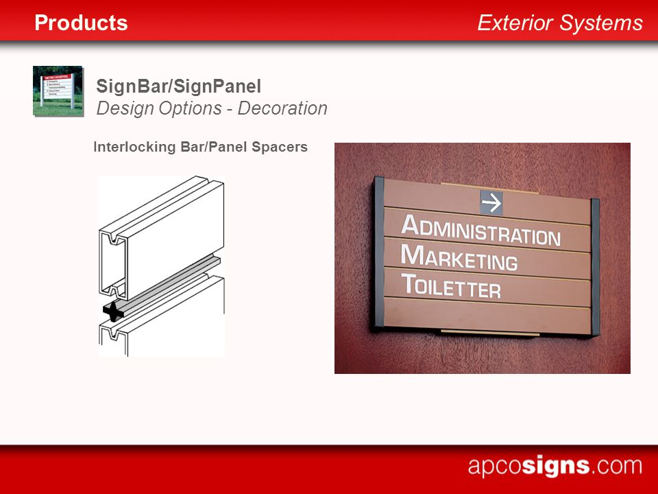 SignBar/SignPanel Design Options - Decoration Interlocking Bar/Panel Spacers ProductsExterior Systems