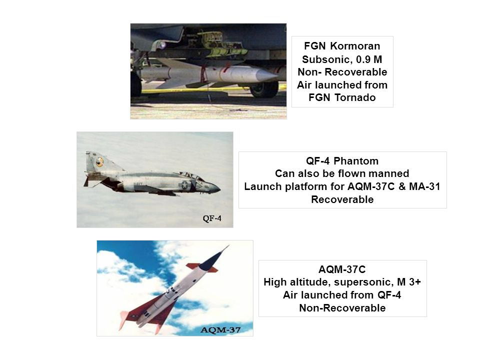 FGN Kormoran Subsonic, 0.9 M Non- Recoverable Air launched from FGN Tornado QF-4 Phantom Can also be flown manned Launch platform for AQM-37C & MA-31