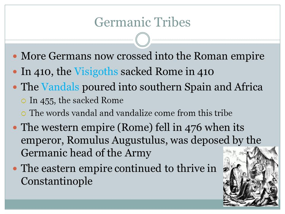 Theories on the decline of the Roman Empire Christianity's emphasis on a spiritual kingdom weakened Roman military values Traditional Roman values declined as non-Italians gained prominence in the empire Lead poisoning through leaden water pipes and cups caused a mental decline in the population Plague wiped out one-tenth of the population Rome failed to advance technologically due to slavery Rome could not create a workable political system