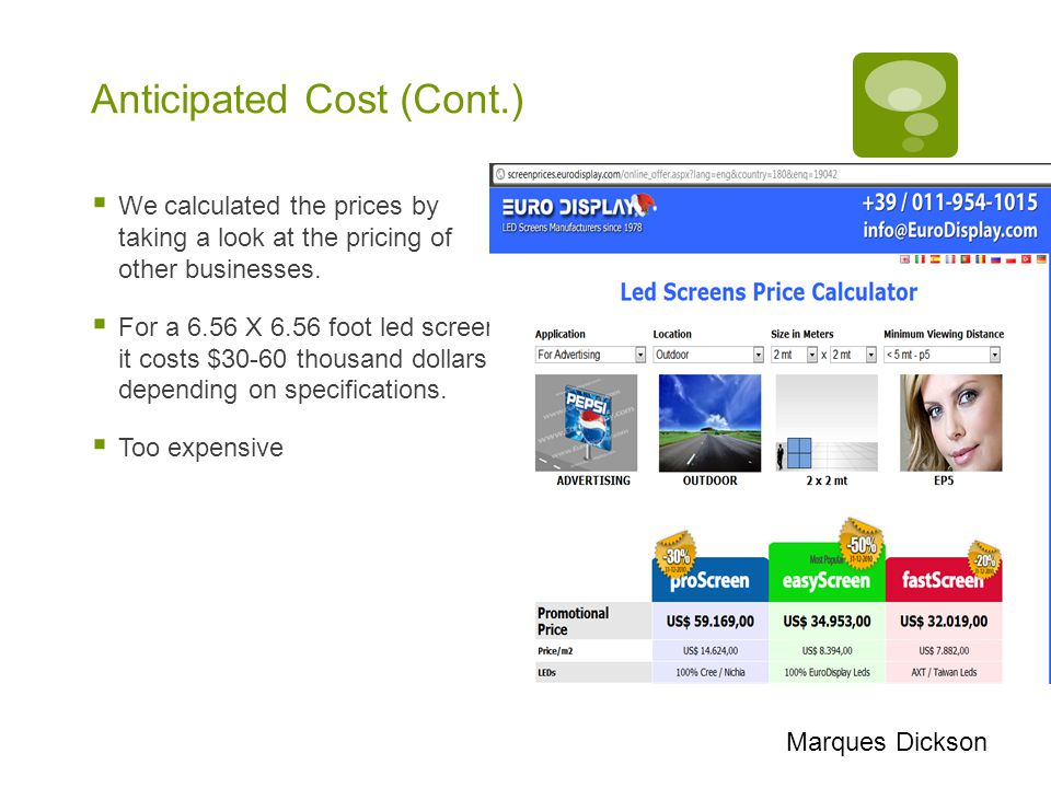 Anticipated Cost (Cont.)  We calculated the prices by taking a look at the pricing of other businesses.
