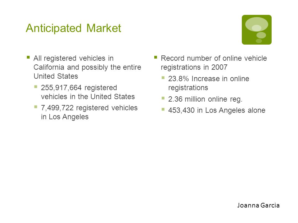 Anticipated Market  All registered vehicles in California and possibly the entire United States  255,917,664 registered vehicles in the United States  7,499,722 registered vehicles in Los Angeles  Record number of online vehicle registrations in 2007  23.8% Increase in online registrations  2.36 million online reg.