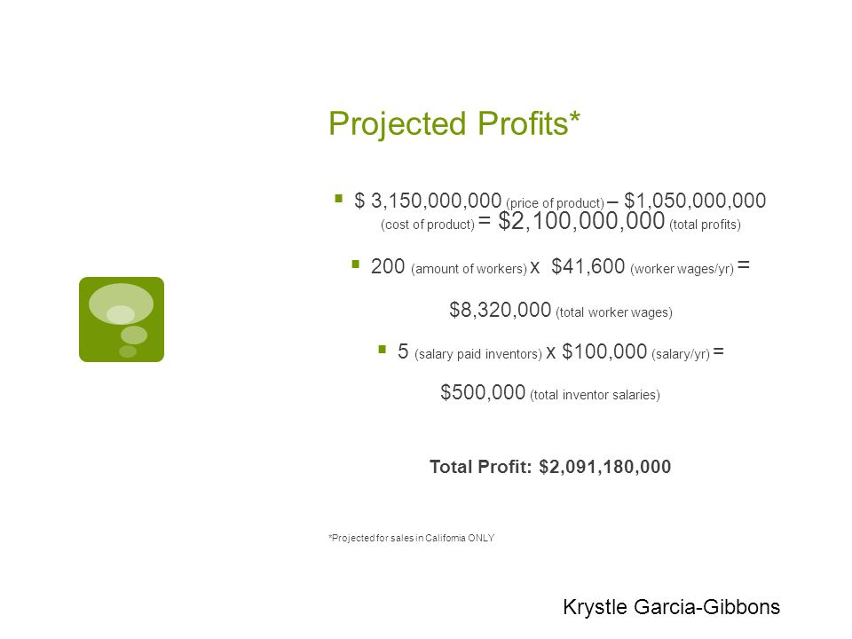 Projected Profits*  $ 3,150,000,000 (price of product) – $1,050,000,000 (cost of product) = $2,100,000,000 (total profits)  200 (amount of workers) x $41,600 (worker wages/yr) = $8,320,000 (total worker wages)  5 (salary paid inventors) x $100,000 (salary/yr) = $500,000 (total inventor salaries) Total Profit: $2,091,180,000 *Projected for sales in California ONLY Krystle Garcia-Gibbons
