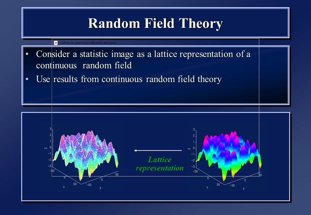 Random Field Theory Consider a statistic image as a lattice representation of a continuous random fieldConsider a statistic image as a lattice representation of a continuous random field Use results from continuous random field theoryUse results from continuous random field theory Consider a statistic image as a lattice representation of a continuous random fieldConsider a statistic image as a lattice representation of a continuous random field Use results from continuous random field theoryUse results from continuous random field theory Lattice representation