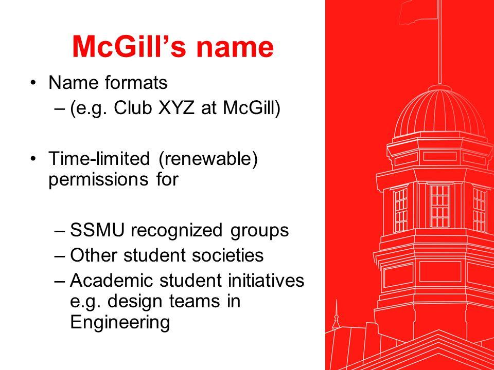 McGill's name Name formats –(e.g.