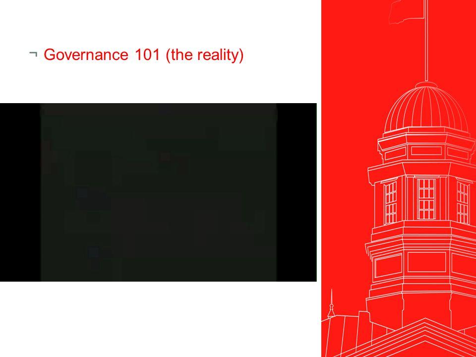 ¬Governance 101 (the reality)