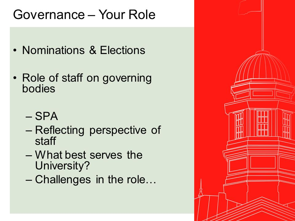 Governance Matters Senate & Board 2007/08 –Revisions to the McGill University Policy on the Ethical Conduct of Research Involving Human Subjects –University Budget –Information presentations (Deans, VPs) –Revision of the Regulations Relating to the Employment of Librarian Staff –Principles governing Campus master plan –Administrative Response to the Report of the Principal's Task Force on Student Life and Learning –Principal's Five Year Plan Senate & Board 2008/09 –Can you sign.