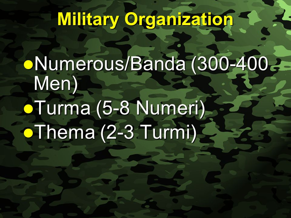 Slide 30 Military Organization Numerous/Banda (300-400 Men) Numerous/Banda (300-400 Men) Turma (5-8 Numeri) Turma (5-8 Numeri) Thema (2-3 Turmi) Thema (2-3 Turmi)