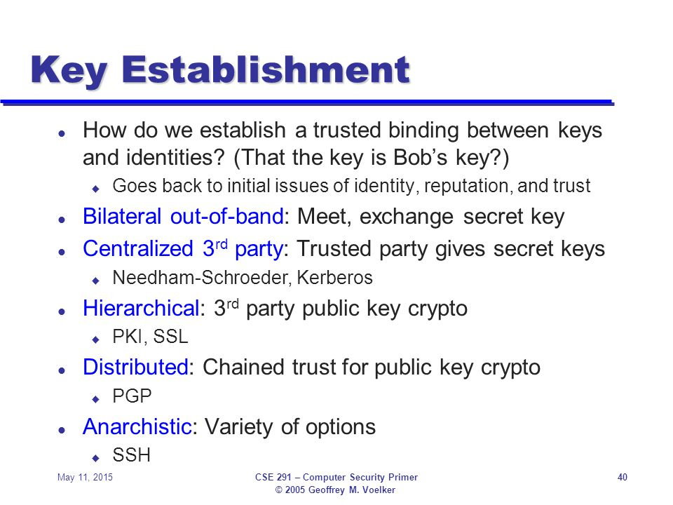 © 2005 Geoffrey M. Voelker May 11, 2015CSE 291 – Computer Security Primer40 Key Establishment l How do we establish a trusted binding between keys and