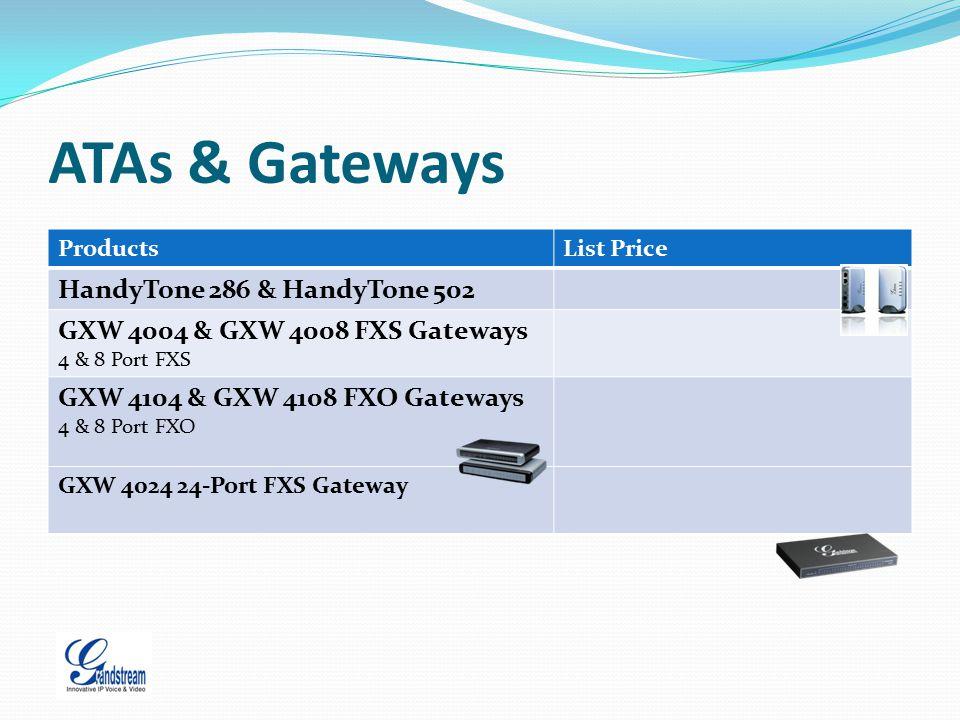 ATAs & Gateways ProductsList Price HandyTone 286 & HandyTone 502 GXW 4004 & GXW 4008 FXS Gateways 4 & 8 Port FXS GXW 4104 & GXW 4108 FXO Gateways 4 &