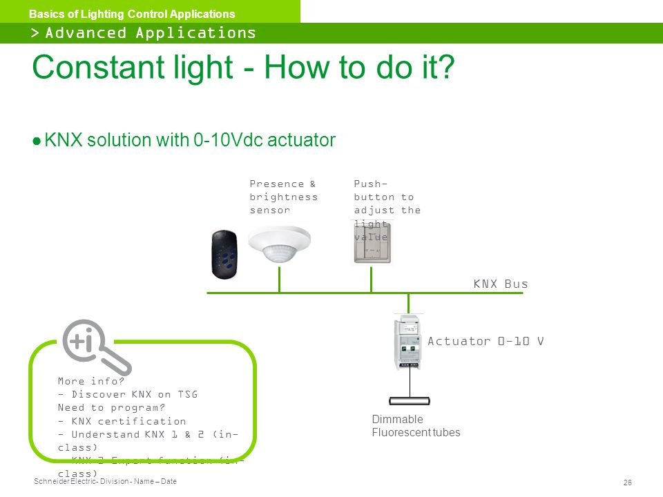 Schneider Electric 26 - Division - Name – Date Basics of Lighting Control Applications Constant light - How to do it? ●KNX solution with 0-10Vdc actua
