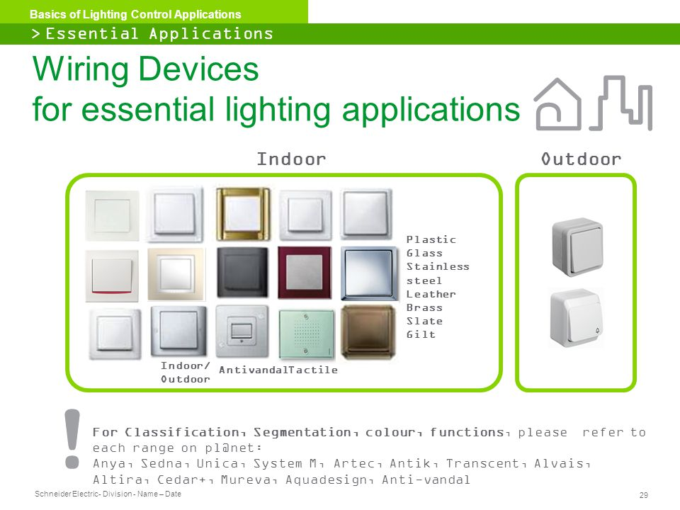 Schneider Electric 29 - Division - Name – Date Basics of Lighting Control Applications For Classification, Segmentation, colour, functions, please ref
