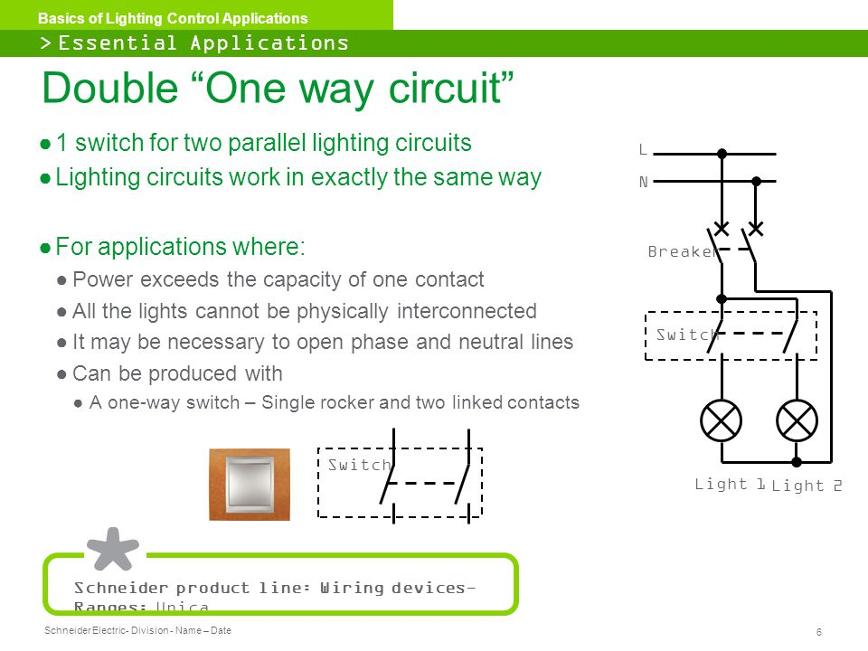 Schneider Electric 6 - Division - Name – Date Basics of Lighting Control Applications ●1 switch for two parallel lighting circuits ●Lighting circuits