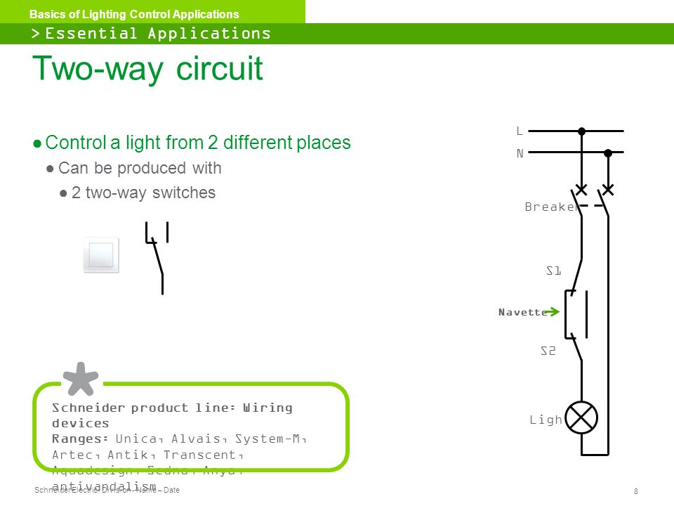 Schneider Electric 9 - Division - Name – Date Basics of Lighting Control Applications ●1 switch for two separate lighting circuits ●Each circuit works independently ●For applications where the compactness of the switch is a plus.