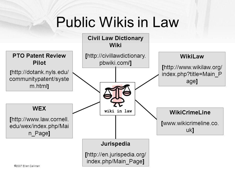  2007 Ellen Callinan PTO Patent Review Pilot [ http://dotank.nyls.edu/ communitypatent/syste m.html ] WEX [http://www.law.cornell.