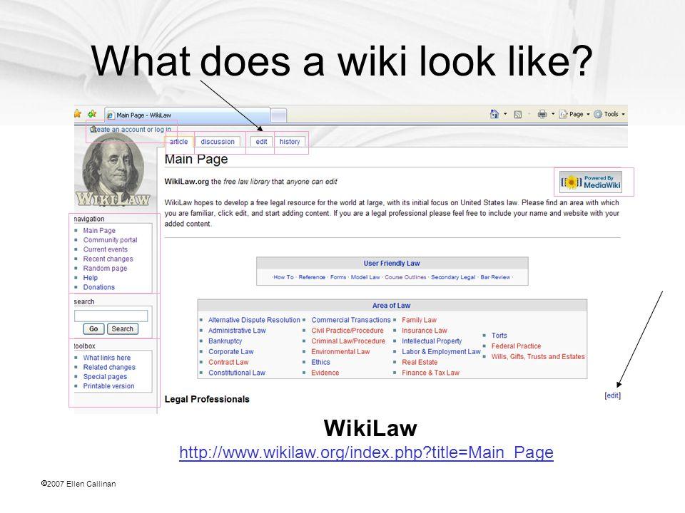  2007 Ellen Callinan What does a wiki look like.