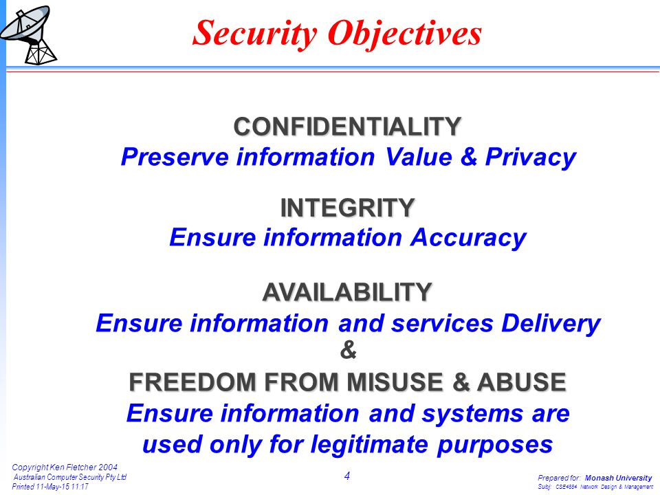 4 Copyright Ken Fletcher 2004 Australian Computer Security Pty Ltd Printed 11-May-15 11:18 Prepared for: Monash University Subj: CSE4884 Network Desig