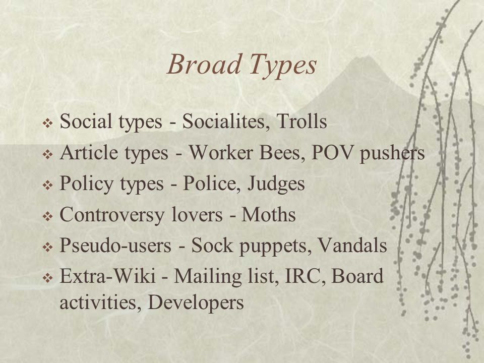 Many types of users  As in any society, there are many types of people -- these types are reflected in editng patterns  Individual users may not fit
