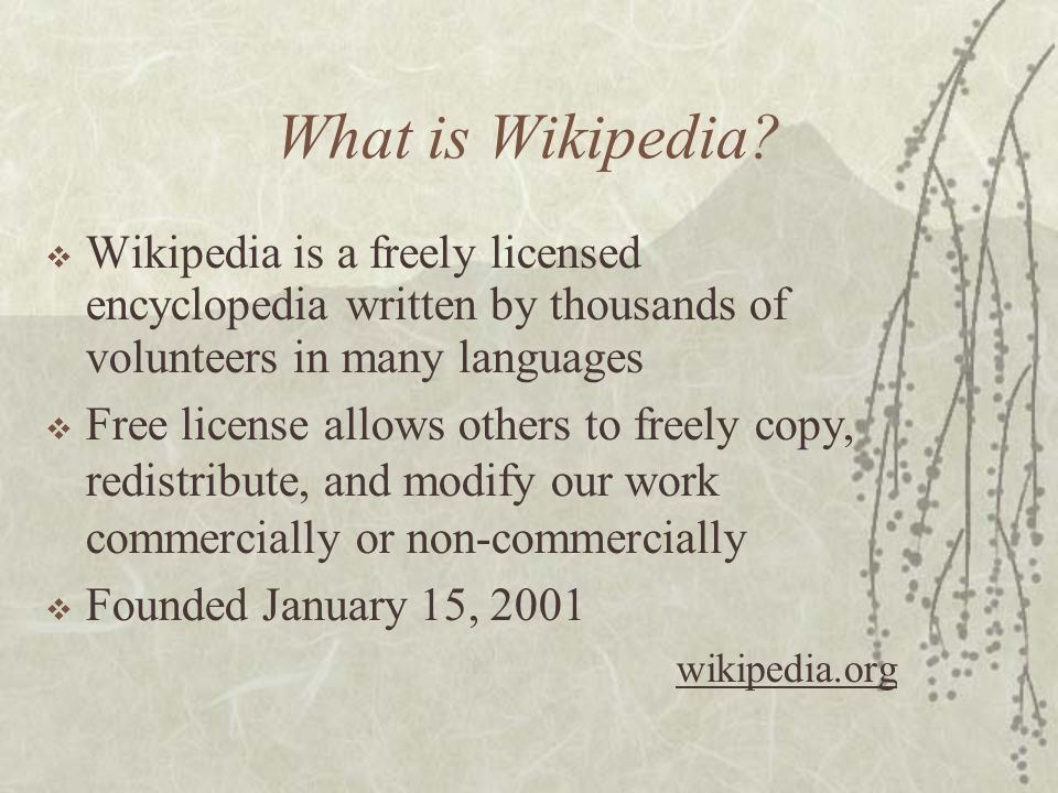 What is the Wikimedia Foundation?  Non-profit foundation  Aims to distribute a free encyclopedia to every single person on the planet in their own l