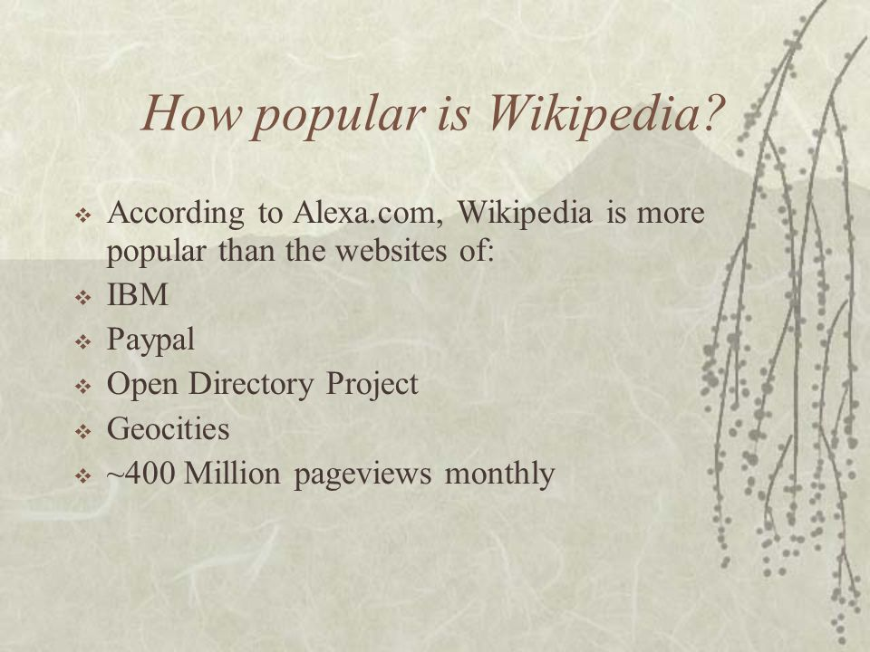 How big is Wikipedia Globally?  English – 412,000 articles  German – 172,000 articles  Japanese – 87,000 articles  French – 66,000 articles  Swed