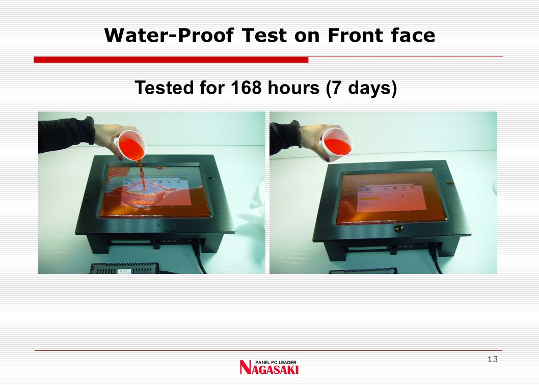 13 Water-Proof Test on Front face Tested for 168 hours (7 days)