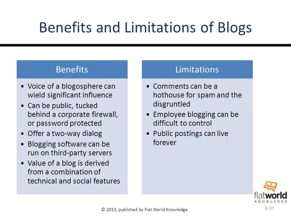 © 2013, published by Flat World Knowledge Benefits and Limitations of Blogs Benefits Voice of a blogosphere can wield significant influence Can be public, tucked behind a corporate firewall, or password protected Offer a two-way dialog Blogging software can be run on third-party servers Value of a blog is derived from a combination of technical and social features Limitations Comments can be a hothouse for spam and the disgruntled Employee blogging can be difficult to control Public postings can live forever 8-10