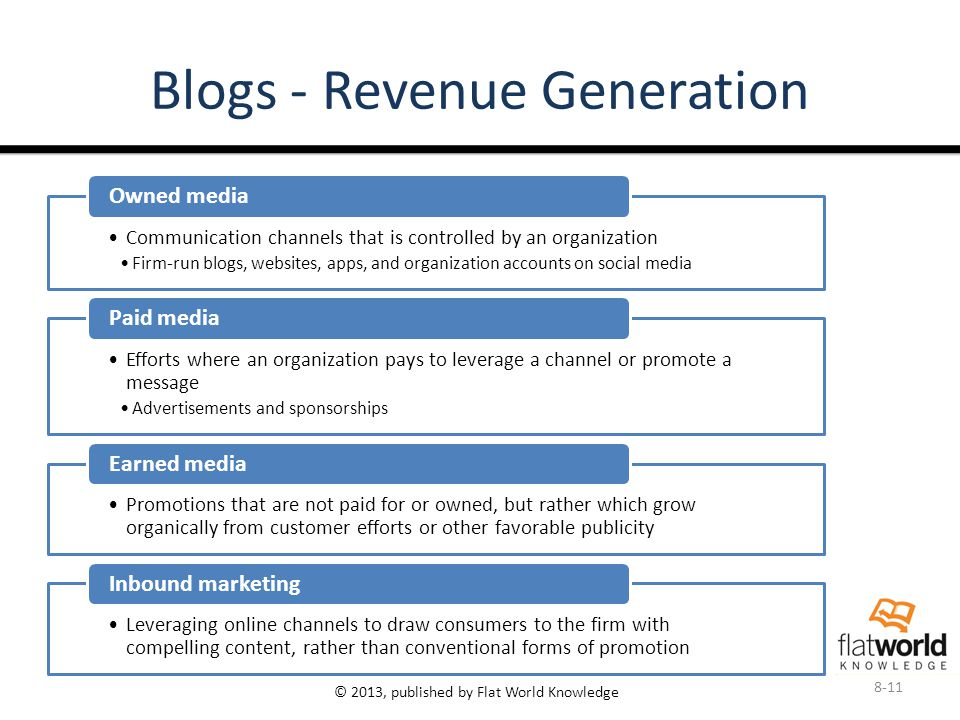 © 2013, published by Flat World Knowledge Blogs - Revenue Generation Communication channels that is controlled by an organization Firm-run blogs, websites, apps, and organization accounts on social media Owned media Efforts where an organization pays to leverage a channel or promote a message Advertisements and sponsorships Paid media Promotions that are not paid for or owned, but rather which grow organically from customer efforts or other favorable publicity Earned media Leveraging online channels to draw consumers to the firm with compelling content, rather than conventional forms of promotion Inbound marketing 8-11