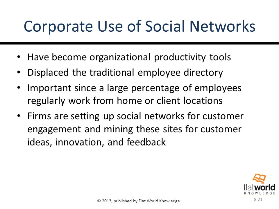 © 2013, published by Flat World Knowledge Corporate Use of Social Networks Have become organizational productivity tools Displaced the traditional employee directory Important since a large percentage of employees regularly work from home or client locations Firms are setting up social networks for customer engagement and mining these sites for customer ideas, innovation, and feedback 8-21