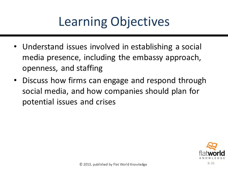 © 2013, published by Flat World Knowledge Learning Objectives Understand issues involved in establishing a social media presence, including the embassy approach, openness, and staffing Discuss how firms can engage and respond through social media, and how companies should plan for potential issues and crises 8-36