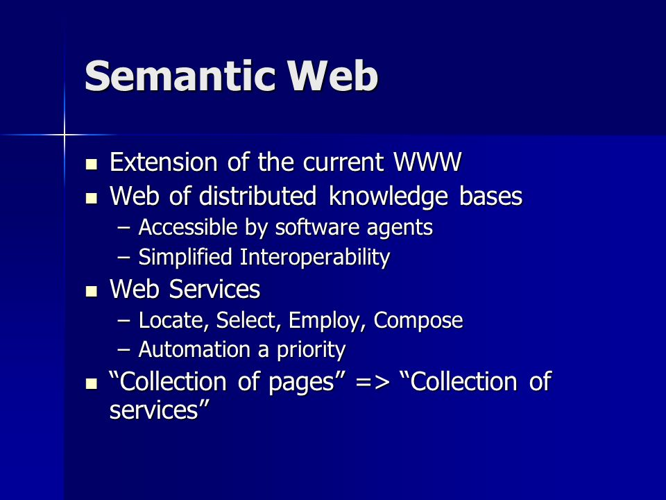 Semantic Web Extension of the current WWW Extension of the current WWW Web of distributed knowledge bases Web of distributed knowledge bases –Accessible by software agents –Simplified Interoperability Web Services Web Services –Locate, Select, Employ, Compose –Automation a priority Collection of pages => Collection of services Collection of pages => Collection of services