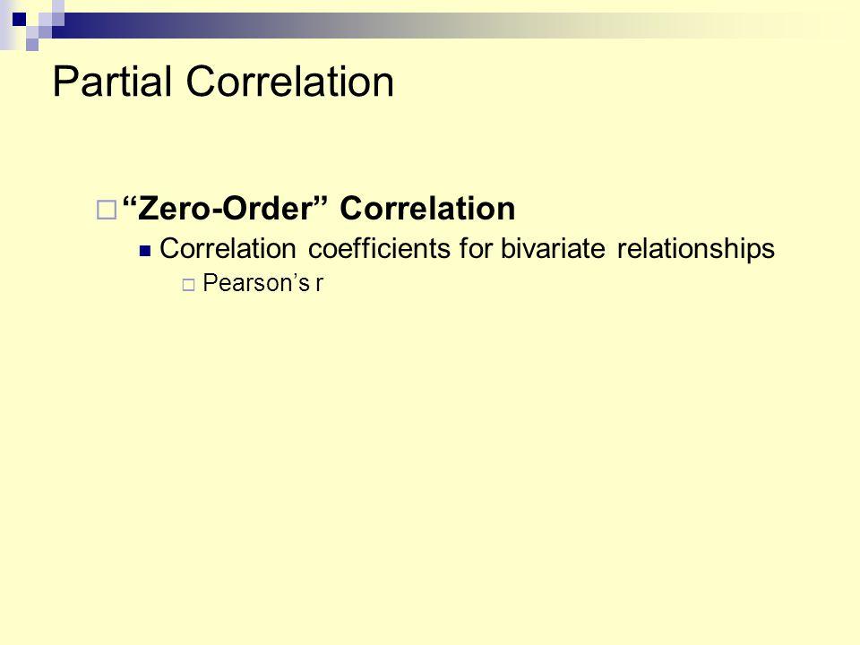 "Partial Correlation  ""Zero-Order"" Correlation Correlation coefficients for bivariate relationships  Pearson's r"