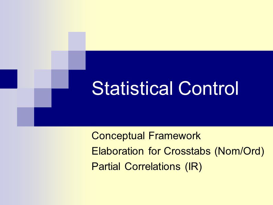 Statistical Control with Interval- Ratio Variables  Partial Correlation Partial correlation coefficients are symbolized as r yx.z  This is interpreted as partial correlation coefficient that measures the relationship between X and Y, while controlling for Z Like elaboration of tables, but with I-R variables