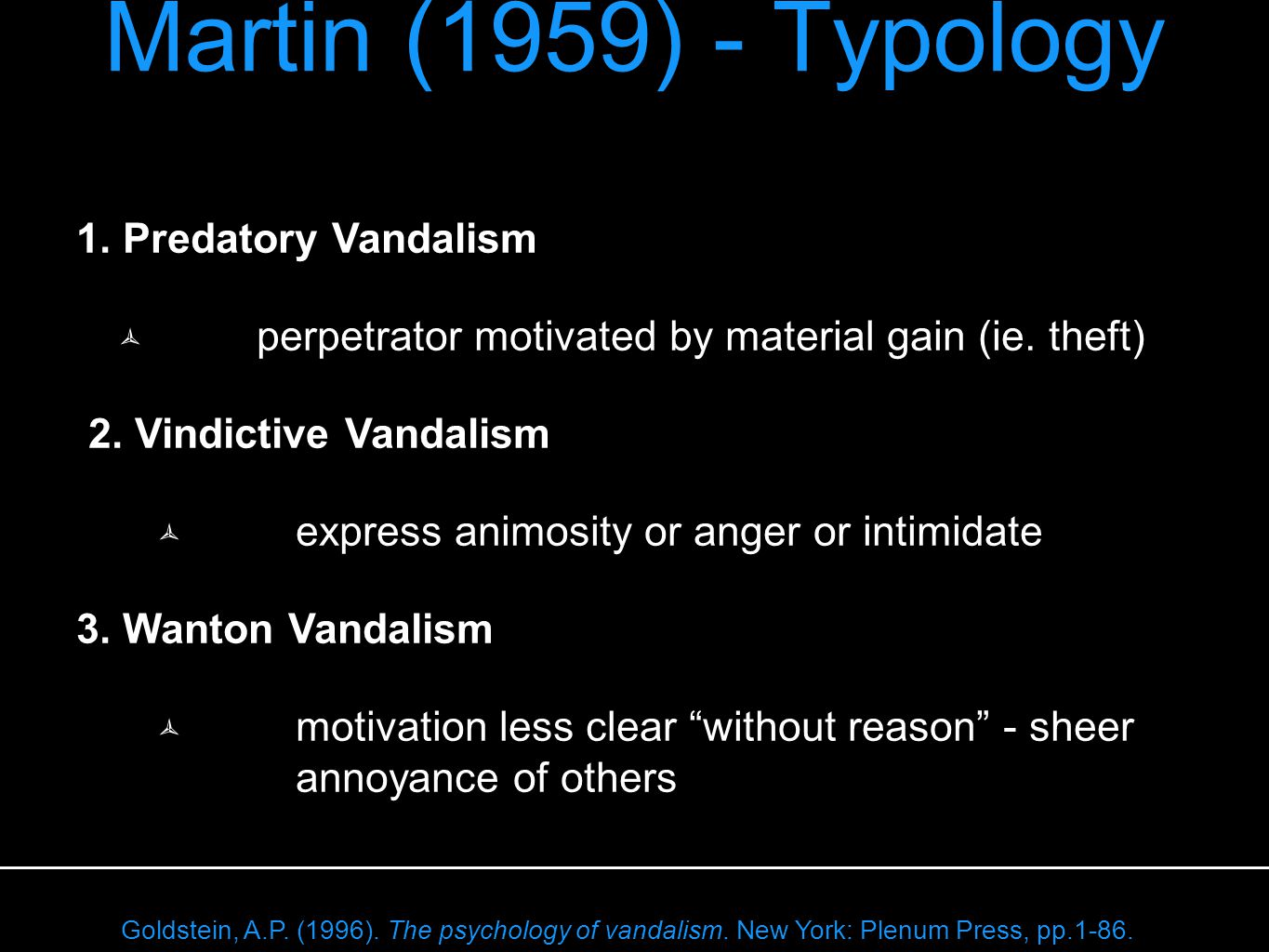 Martin (1959) - Typology 1. Predatory Vandalism  perpetrator motivated by material gain (ie.