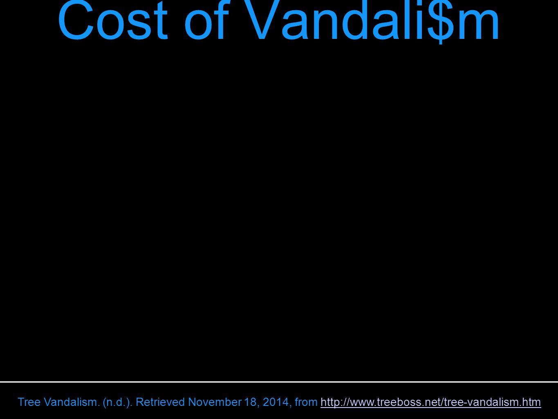 ENVIRONMENTAL COSTS: Cost of Vandali$m Tree Vandalism.