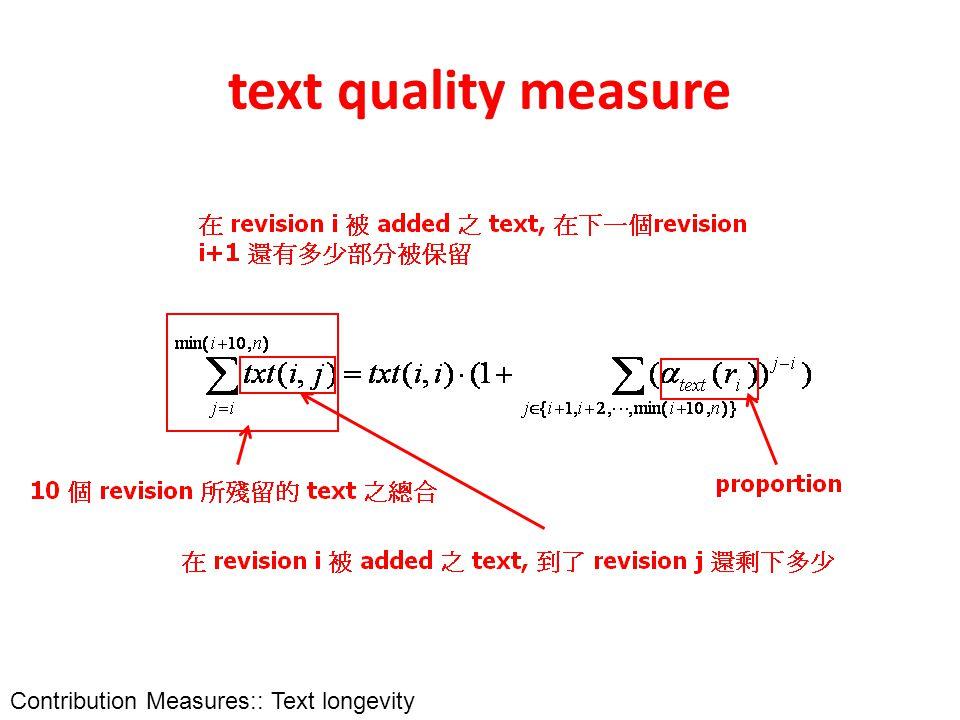 text quality measure Contribution Measures:: Text longevity