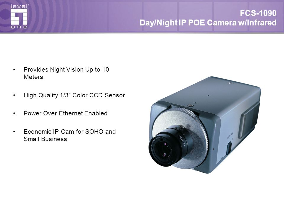 "FCS-1090 Day/Night IP POE Camera w/Infrared Provides Night Vision Up to 10 Meters High Quality 1/3"" Color CCD Sensor Power Over Ethernet Enabled Econo"