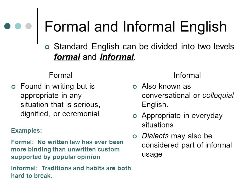 Formal and Informal English Informal Also known as conversational or colloquial English. Appropriate in everyday situations Dialects may also be consi