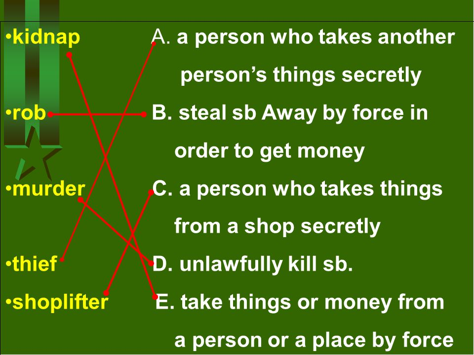kidnap A. a person who takes another person's things secretly rob B. steal sb Away by force in order to get money murder C. a person who takes things