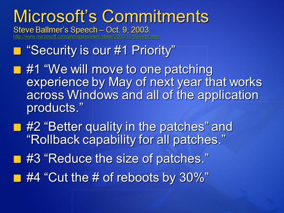 Microsoft's Commitments Steve Ballmer's Speech – Oct.