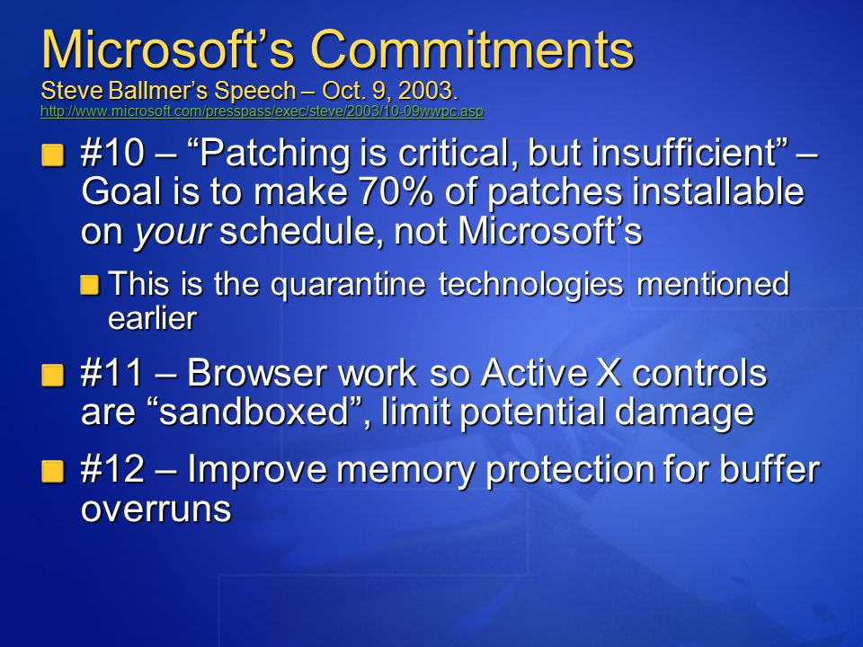 Microsoft's Commitments Steve Ballmer's Speech – Oct.