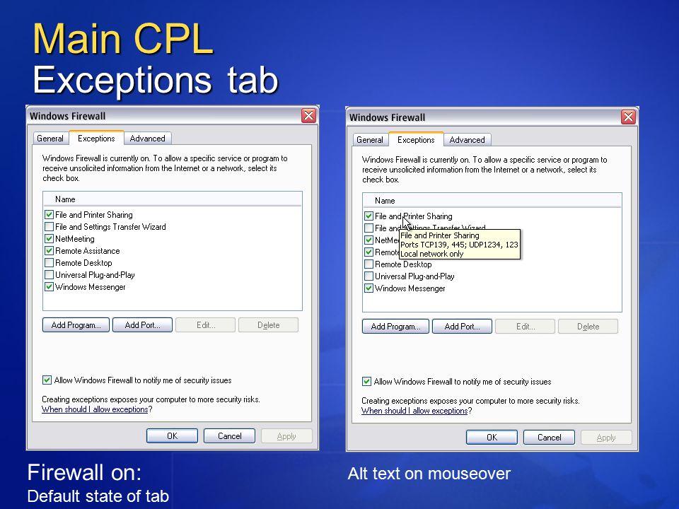 Main CPL Exceptions tab Firewall on: Default state of tab Alt text on mouseover