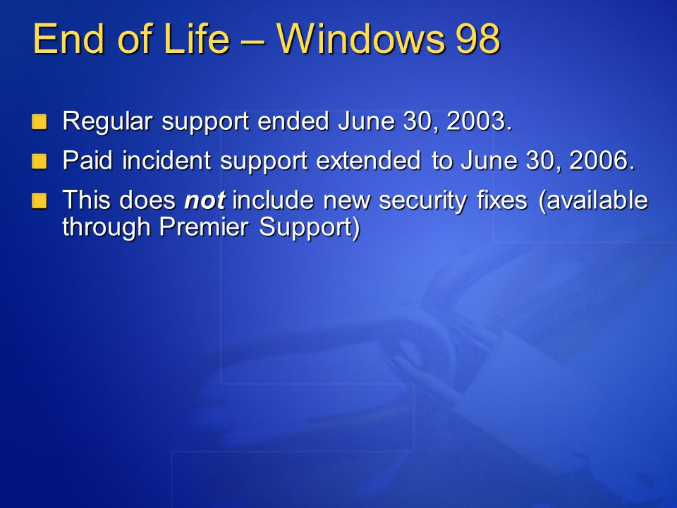 Microsoft Java Virtual Machine According to 2001 Settlement w/ Sun, Microsoft is no longer authorized to support Java VM, starting October 2004 This includes security patches Diagnostic tool coming soon http://www.microsoft.com/java