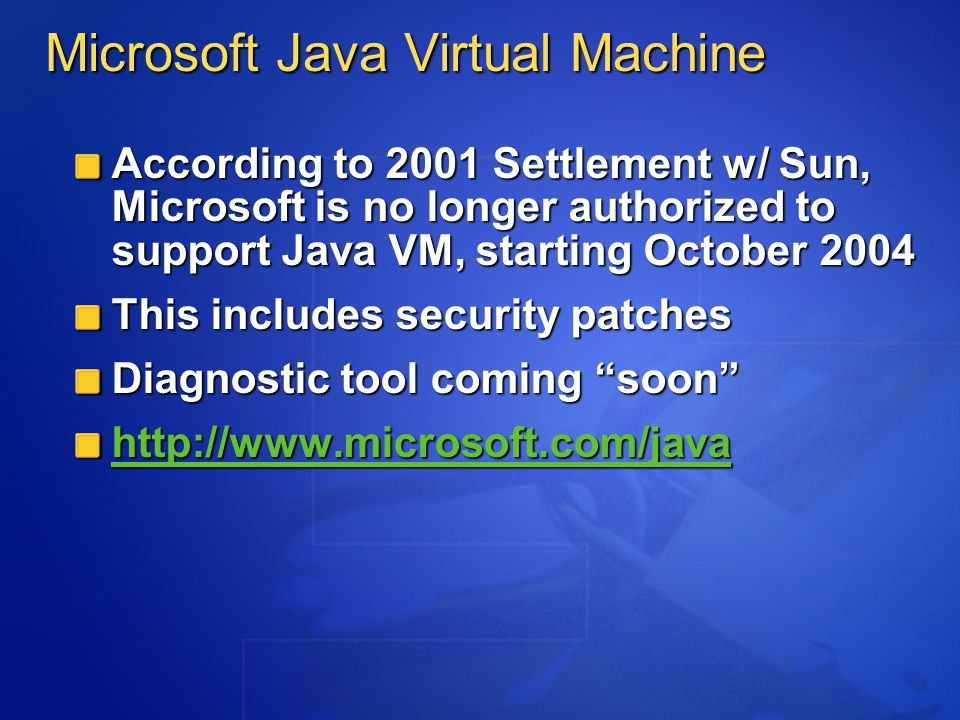Technology Windows Server 2003 SP1 Role-based security configuration Network client and remote VPN inspection Availability: RTM H2 CY04 ISA Server 2004 Application Layer Filtering Simplified management tools Enhanced user interface Availability: RTM H1 CY04 Commitment: Update Windows Server 2003 and improve edge protection with technologies that enable a more secure infrastructure