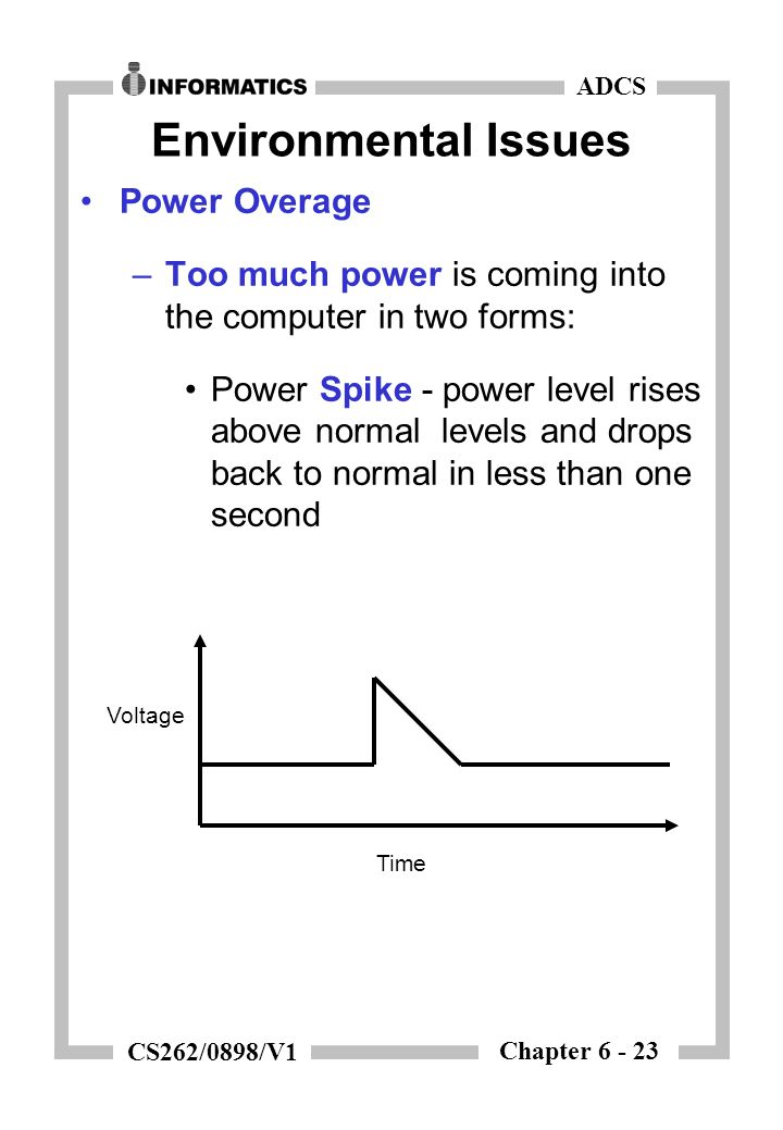 Chapter 6 - 23 ADCS CS262/0898/V1 Environmental Issues Power Overage –Too much power is coming into the computer in two forms: Power Spike - power lev