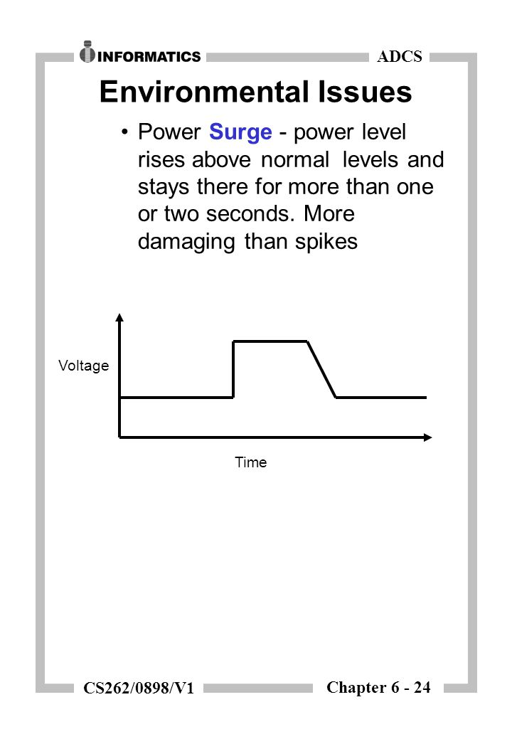 Chapter 6 - 24 ADCS CS262/0898/V1 Environmental Issues Power Surge - power level rises above normal levels and stays there for more than one or two se