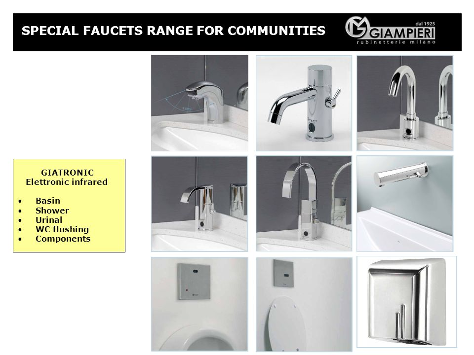 GIATRONIC Elettronic infrared Basin Shower Urinal WC flushing Components SPECIAL FAUCETS RANGE FOR COMMUNITIES